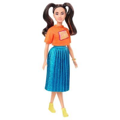 boneca-barbie-fashionista-blusa-laranja-e-saia-azul-mattel_Frente