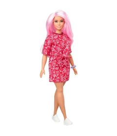 boneca-barbie-fashionista-cabelo-rosa-vestido-vermelho-mattel_Frente