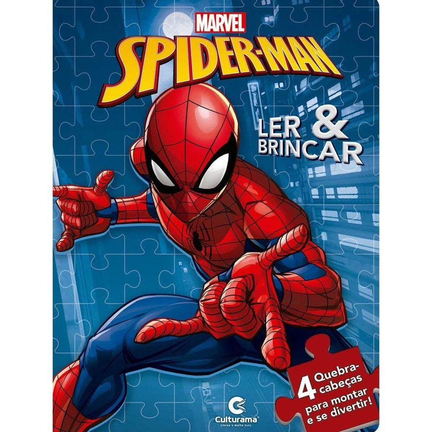 Livro-Infantil---Ler-e-Brincar-com-Quebra-Cabeca---Disney---Marvel---Spider-Man---Culturama