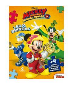 Livro-Infantil---Ler-e-Brincar-com-Quebra-Cabeca---Disney---Mickey-Mouse-Sobre-Rodas---Culturama