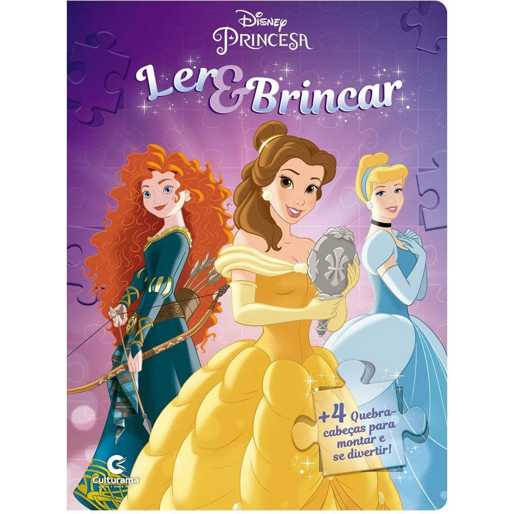 Oferta Livro Infantil - Ler e Brincar com Quebra-Cabeça - Disney - Princesas - Culturama por R$ 14.99