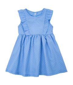 Vestido-Infantil---Chambray-com-Babado---Azul---Algodao-e-Poliester---Minimi---1