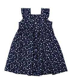Vestido-Infantil-com-Alcas---Floral---Marinho---Algodao-e-Elastano---Minimi---1
