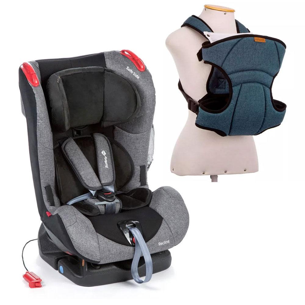 Kit de Cadeira Para Auto - De 0 a 25 Kg - Recline Grey Denim - Safety 1st e Canguru - I Love Travel - Blue - Infanti