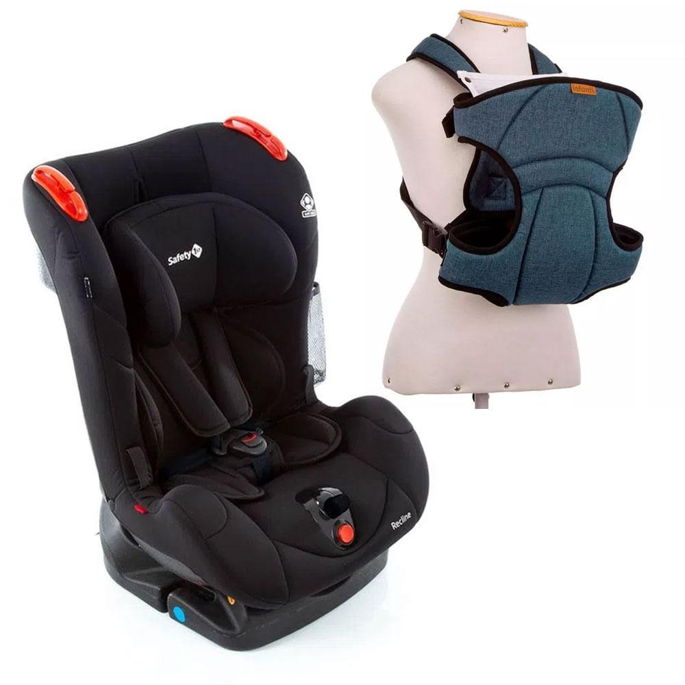 Kit de Cadeira Para Auto - De 0 a 25 Kg - Recline - Full Black - Safety 1st e Canguru - I Love Travel - Blue - Infanti