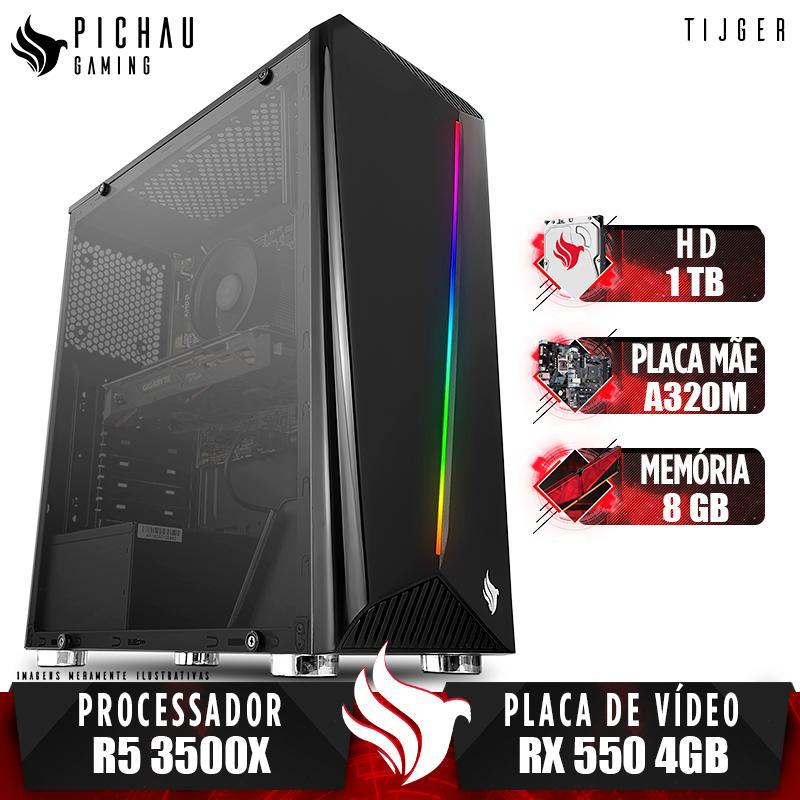 Computador Pichau Gamer Tijger, AMD Ryzen 5 3500X, A320M, Radeon RX 550 4GB, 8GB DDR4, HD 1TB, 400W, Easy PE340 + Cabo de Força e Cabo HDMI