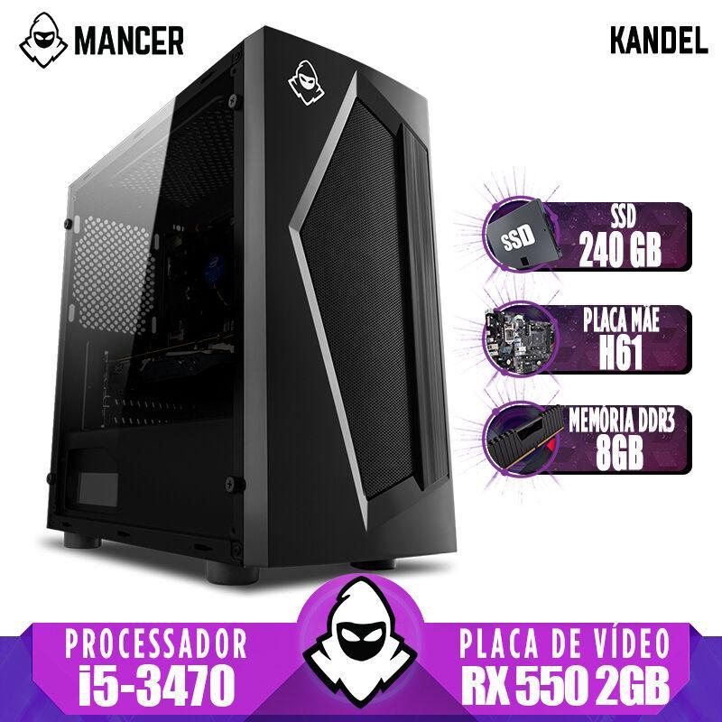 Computador Gamer Mancer, Intel i5-3470 + Cooler Alta 9, TGT H61, RX 550 2GB, 8GB DDR3, SSD 240GB, TGT 500W, Pyro + Cabo de Força e Cabo HDMI