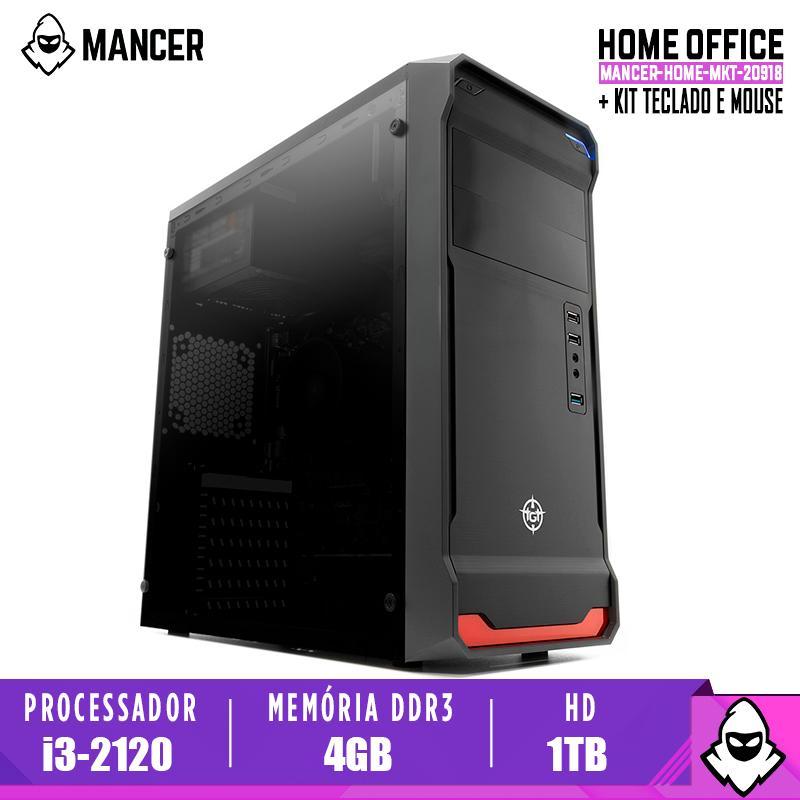 Computador Home Mancer, Intel i3-2120 + Cooler i30, TGT H61, 4GB DDR3, HD 1TB, 500W, combat + Cabo de Força e Cabo HDMI + Kit Teclado e Mouse MK120