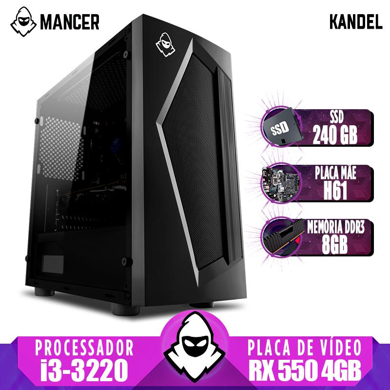Computador Gamer Mancer, Intel i3-3220 + Cooler Alta 9, TGT H61, RX 550 4GB, 8GB DDR3, SSD 240GB, TGT 500W, Pyro + Cabo de Força e Cabo HDMI