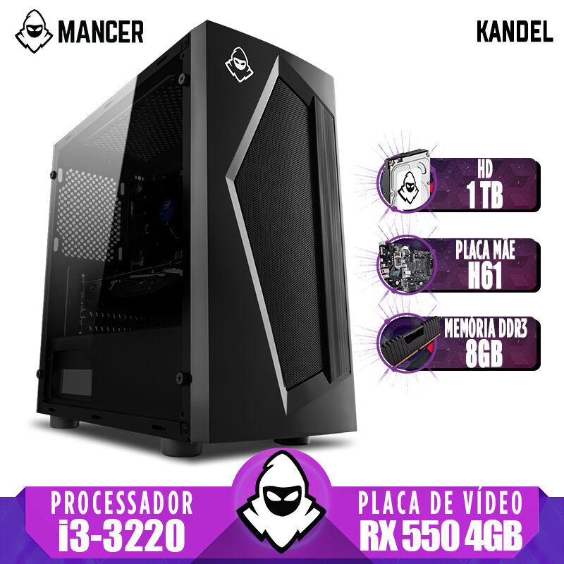 Computador Gamer Mancer, Intel i3-3220 + Cooler Alta 9, TGT H61, RX 550 4GB, 8GB DDR3, HD 1TB, TGT 500W, Pyro + Cabo de Força e Cabo HDMI