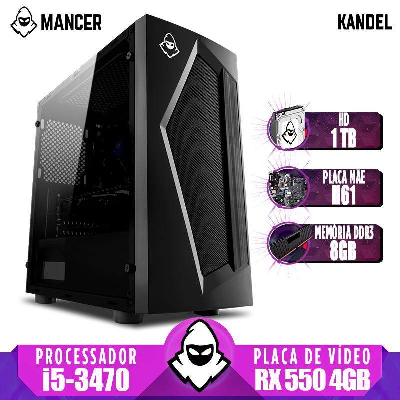 Computador Gamer Mancer, Intel i5-3470 + Cooler Alta 9, TGT H61, RX 550 4GB, 8GB DDR3, HD 1TB, TGT 500W, Pyro + Cabo de Força e Cabo HDMI