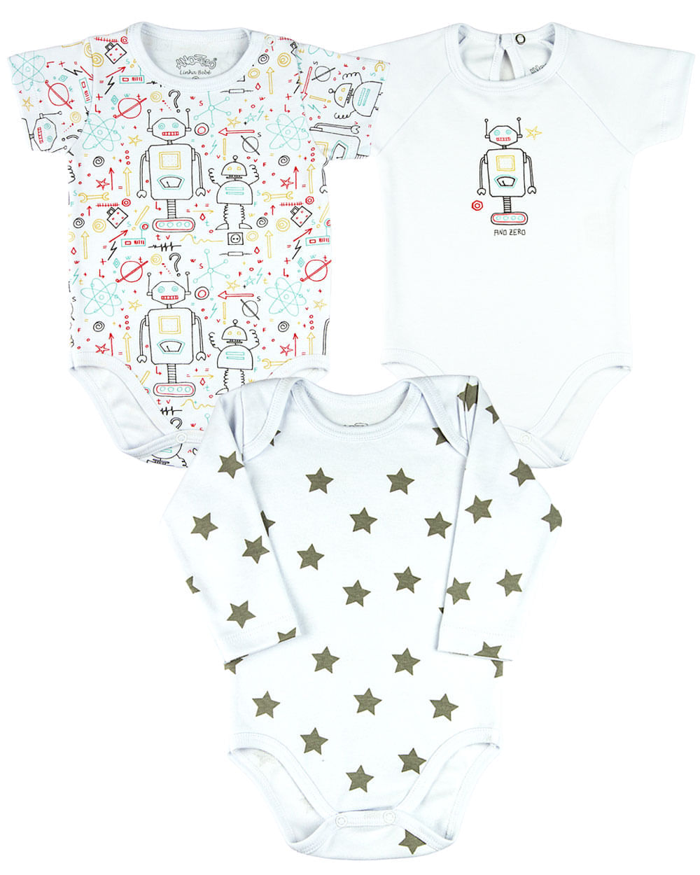 Kit Body Bebê Menino Suedine Estampado Robôs e Estrelas - Branco