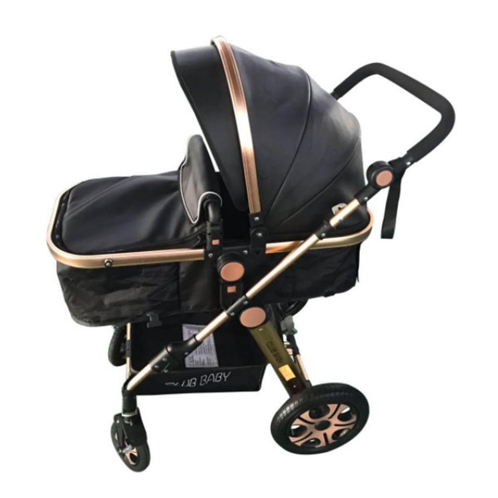 Carrinho de bebê Golden Dourado Club Baby Preto