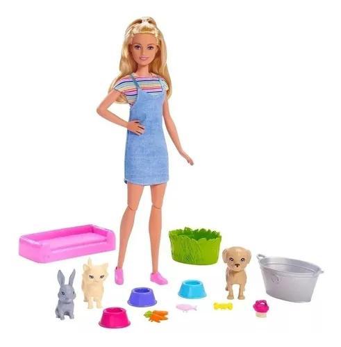 Boneca Barbie Banho Dos Pets Playset + 3 Bichinhos