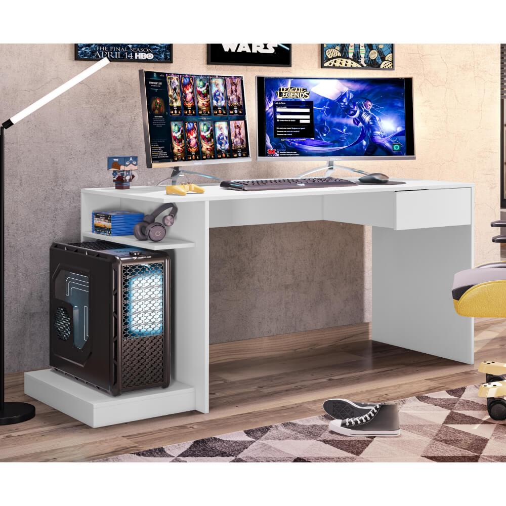 Mesa Escrivaninha Gamer Rubi com 1 Gaveta - Branco