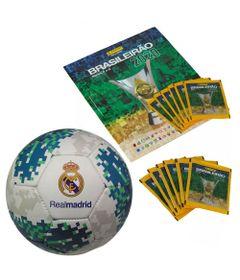 Kit-Album---Campeonato-Brasileiro-com-12-Envelopes-e-Bola-de-Futebol---Real-Madrid