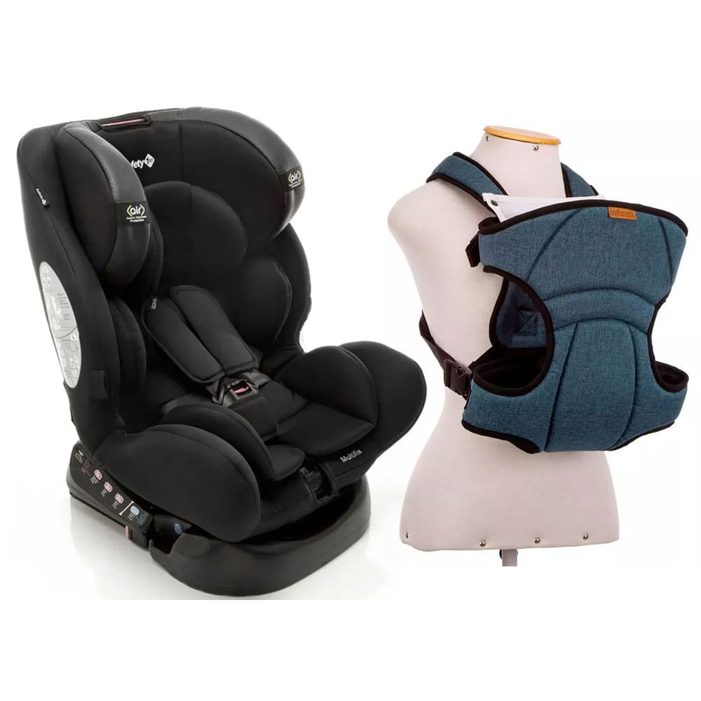 Kit Cadeira para Auto - De 0 a 36 Kg - Multifix - Black e Canguru - I Love Travel - Blue - Infanti