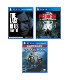 Kit-de-Jogos-PS4---Predator---Hunting-Grounds-The-Last-Of-Us---Part-II-e-God-Of-War---Sony