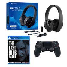 Kit-Headset-Gamer---Wireless-Controle-DualShock-Jet---Preto-e-Jogo-The-Last-Of-Us---Part-II---Sony