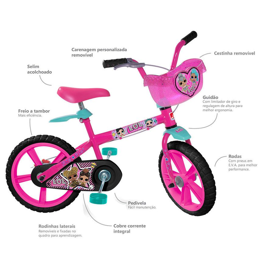 Bicicleta-Aro-14---Lol---Rosa---Bandeirante_Detalhe