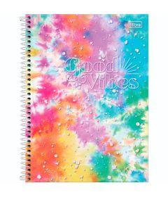 Caderno-Espiral---Capa-Dura-Universitario---Rosa-Azul-Amarelo---160-Folhas---Good-Vibes---Tilibra-0