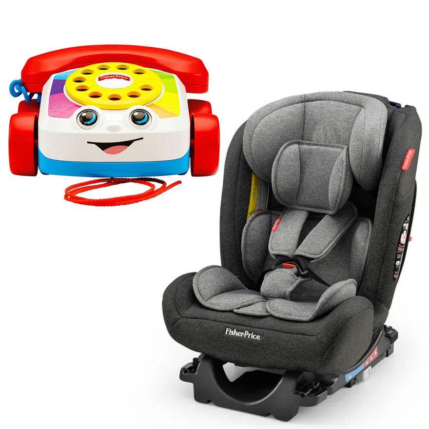 Kit-Cadeira-para-Auto---De-0-a-36-Kg---All-Stages-Fix-2.0---Cinza-e-Preto-e-Telefone-Feliz---Fisher-Price_Frente