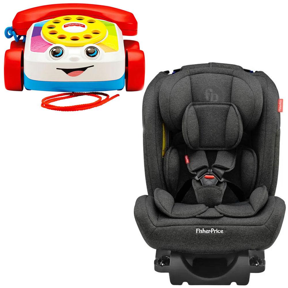 Kit Cadeira Para Auto - 0 a 36 Kg - All-Stages Fix 2.0 - Preto e Telefone Feliz - Fisher-Price