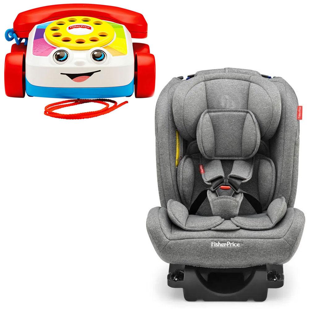 Kit Cadeira Para Auto - 0 a 36 Kg - All-Stages Fix 2.0 - Cinza e Telefone Feliz - Fisher-Price