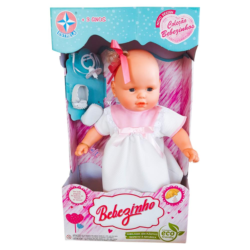 Boneca Bebezinho Estrela Vestido Rosa Claro 3+