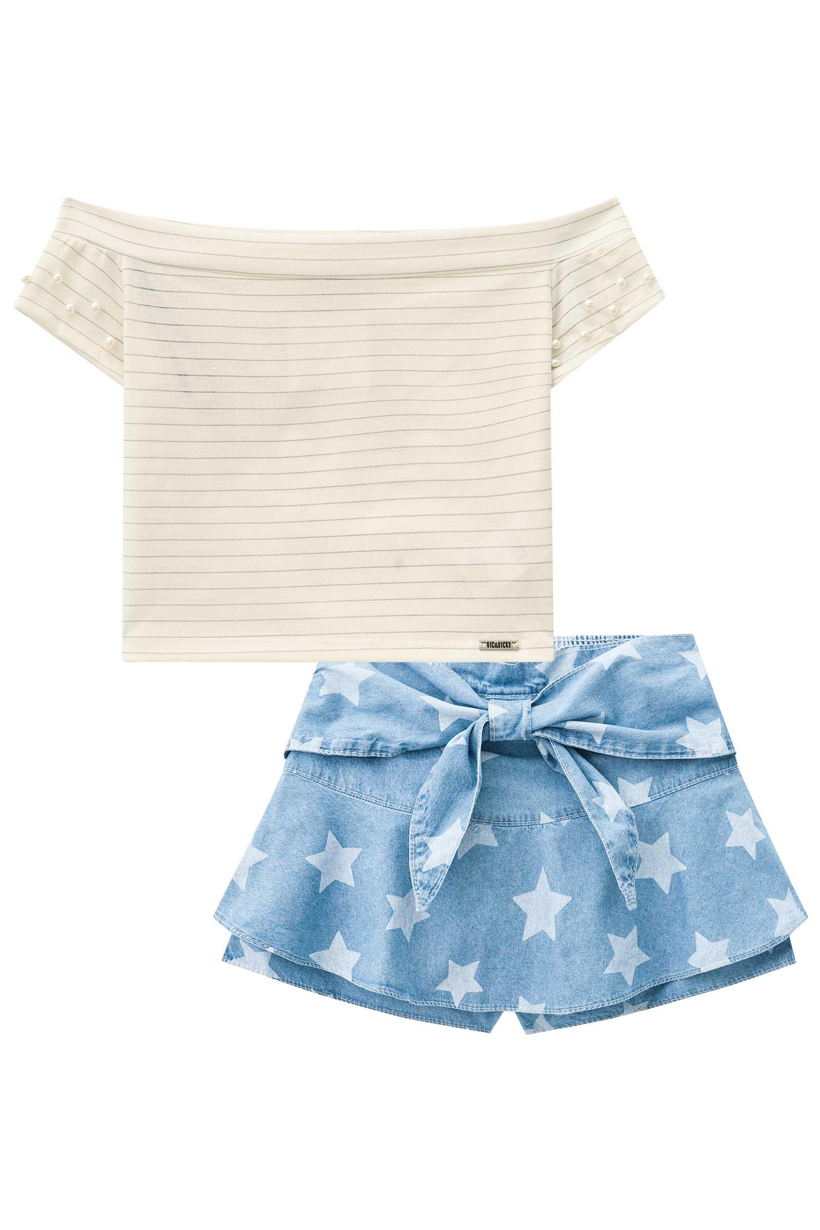 Conjunto Blusa Cropped e Short Saia Estrela
